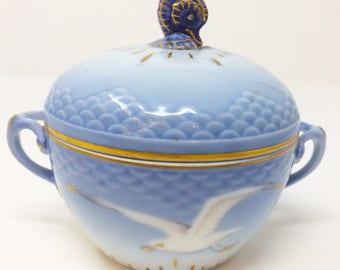 Bing & Grondahl Seagull Sugar Bowl with Seahorse Finial