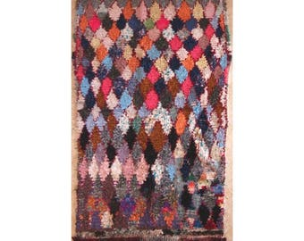 "190X110 cm 6'2"" x 3'7""   T30338  boucherouite , boucharouette,  moroccan rugs , berber rugs, morocco carpets"