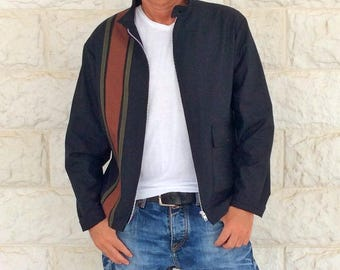 Black bomber jacket, mens jacket men, birthday gift for husband, racing jacket, hipster clothing, rockabilly jacket, Hand made in Italy