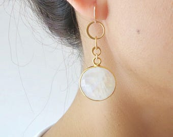 Moonstone Gold Dangle Earrings - Moonstone Earrings - Moonstone Jewelry