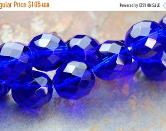 ON SALE 10mm Cobalt Blue Czech Glass Beads   - 10