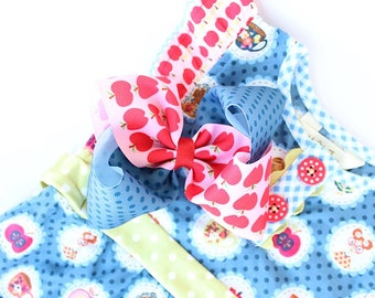 """MJ Bows - Apple A Day Allison  - 5"""" two tone bow made to match Matilda Jane Clothing, Back To School"""