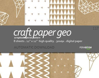 Digital Paper Small commercial use Geometric digital paper Brown Craft paper ZigZag Triangles pattern Background Simple Printable