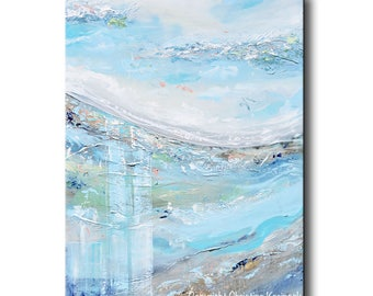 "ORIGINAL Art Abstract Painting Turquoise Blue Grey Wall Art Acrylic Painting Wall Decor Home Decor Landscape Textured Coastal 40""- Christine"
