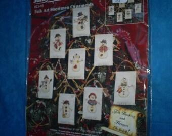 Janlynn Christmas Cross Stitch Folkart Snowmen Ornaments. Set of Eight.