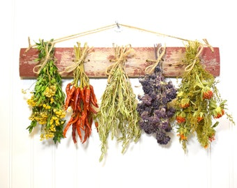 Dried Herb Rack, Kitchen Decor, Dried Floral Arrangement, Wall Decor