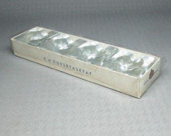 Nybro Glasbruk Sweden 4 ashtrays in the original box mid century modern