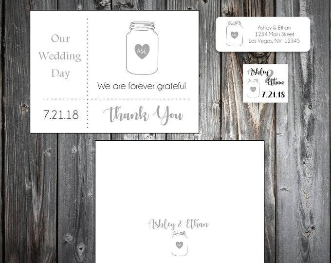 25 Mason Jar  Wedding Thank You Notes