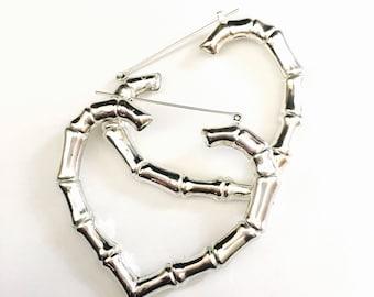 Bamboo Earrings, Hoop Earrings, Bamboo Hoops, 80's jewelry, Silver Earrings, Big Bold Earrings, Popular Earrings, 80's Fashion, Nicki Minaj