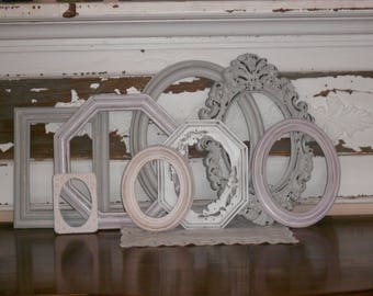 Pretty Collection of Wall Decor - 8 Shabby Chic Custom Gallery  -  Eclectic Feminine Distressed Pastels