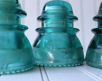 Vintage Hemingray 42 Blue Glass Insulators ~ Antique Glass Insulators 3