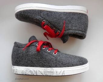 Felted wool sneakers, Outdoor wet felted shoes with winter soles, Men eco fashion felt boots for him, RTS US men 11-11.5