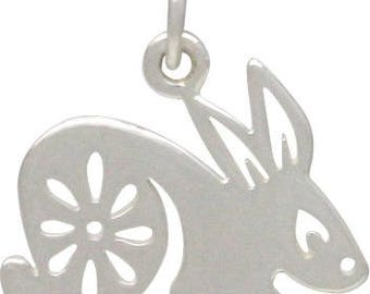Chinese Zodiac Rabbit Charm -16mm, Sterling Silver