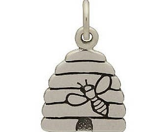 Bee Hive Charm -17mm, Sterling Silver