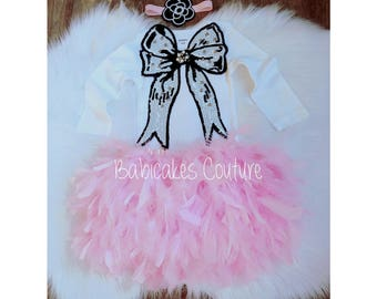 Baby's 1st Christmas, Full Feather Tutu, Feather and Sequin Outfit, Pink, Black & White 1st Birthday 1st Birthday Cake Smash Ballet Birthday