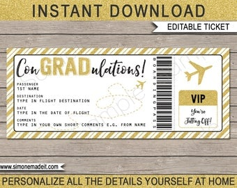 Graduation Gift Boarding Pass Ticket - Printable Plane Ticket - Surprise Flight, Trip, Holiday - INSTANT DOWNLOAD - EDITABLE text - you edit