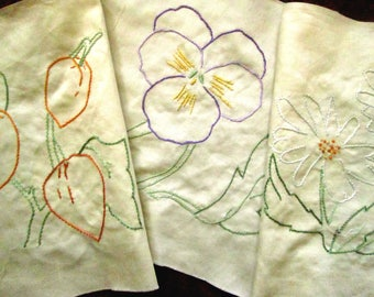 27 Hand Embroidered Quilt Blocks, Flowers