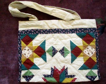 Quilted Patchwork Cotton Tote Bag