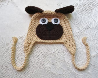 READY TO SHIP - 5 Year to Small Adult Size - Tan and Brown Short Ear Pug Puppy Dog Crochet Hat - Winter Hat or Photo Prop