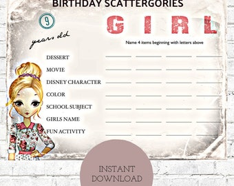Birthday Party Game- Scattegories-Girls Birthday Party 10 year old - 9 year old  - 8 year old - 7 year old