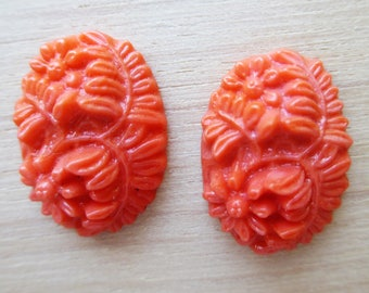 Resin Flower Orangey Colored Cabochons
