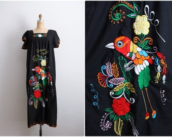 70s Mexican Maxi Dress / Embroidered Dress / Hippie Dress / Boho Maxi Dress / Bohemian Dress / Honduras Dress / One Size