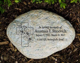 Floral Cross Personalized Memorial Garden Stone, garden decor, garden decoration,  memorial garden, sympathy gift, remembrance -gfyL1176314P