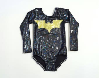 Girls Bat Leotard - Superhero Leotard - Gymnastics Leotard - Dance Leotard - Ballet Leotard - Tumbling Leotard - Girls Sparkle Leotard