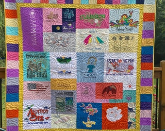 T Shirt Quilt Mosaic with Pieced Borders - Mosaic Tee Shirt Quilt - T-Shirt Quilts - Upcycled Tees