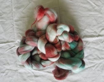 "4oz corridale wool roving hand dyed for spinning yarn making needle felting fiber arts supplies red blue pink white ""berry splash"" colorway"