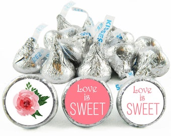 Set of 108 - Love is Sweet Kiss Stickers for Hershey's Kisses. Wedding Labels for Kiss - Wedding Party Favors - #IDWED703