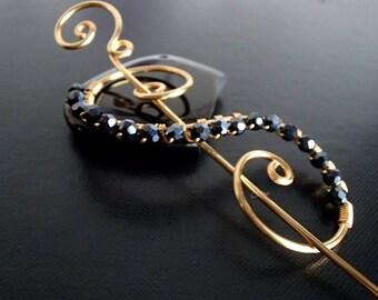 Shawl Pin, Scarf Pin, Fibula, Brooch crystal pin, Gold pin, knitting accessories Wire brooch, Artisan Jewelry
