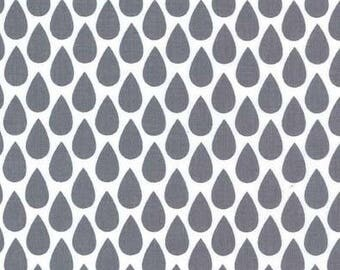 Harper Quinn Gray Rain Drop Fabric, Raindrop Fabric, Gray and White Rain Drops, Michael Miller Fabrics, Quilting Cotton Fabric by the yard