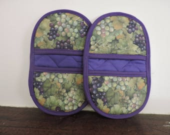 Mini Microwave Mitts-Oven Mitts-Pinchers-Blessings from the Vine w/Purple Trim-Free Shipping