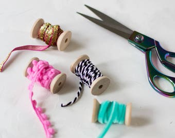 Ribbon on Wooden Spools Styling Set - 4 pc - Pink + Mint Green + Black + White + Gold
