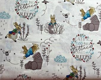 0.5 metre Beatrix Potter Peter Rabbit 100% Cotton Fabric (Grey 4) 112cm wide