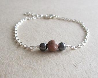 Rhodonite hematite gemstone minimalist bracelet