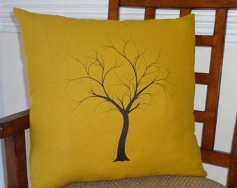 FALL is COMING SALE Decorative Tree Print Throw Pillow Cover on Gold Linen Black Tree on Gold 18x18