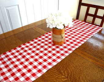 Red & White Gingham Plaid Table Runner Home Decor Red Plaid Christmas Table Runner Table Decor 12x72
