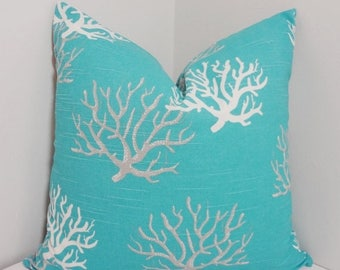 SPRING FORWARD SALE Ocean Blue Coral Pillow Cover Blue Grey White Coral Nautical Pillow Cover All Sizes