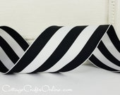 """Wired Ribbon, 2 1/2"""" , Black and White Stripe - THREE YARDS - Offray """"Carnival"""", Grosgrain Style Craft Wire Edged Ribbon"""