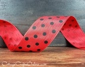 "Wired Ribbon Polka Dot, 1 1/2"", Red with Black Dots - THREE YARD ROLL - ""Polka Dots""  Spring, Summer Wire Edged Ribbon"