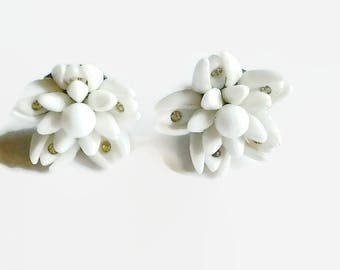 Vintage Milk Glass Rhinestone Flower Cluster Bridal Earrings 1950s Screw Backs