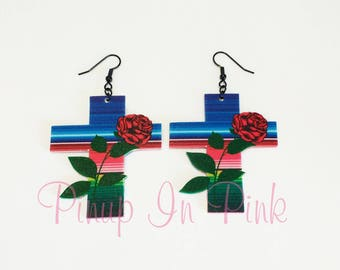 Serape Rose Cross Earrings