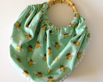 Bumble Bee|White Pom Pom trim|Mint Green|Bamboo Handle Fabric Bag|Rockabilly|Kitsch|Pinup