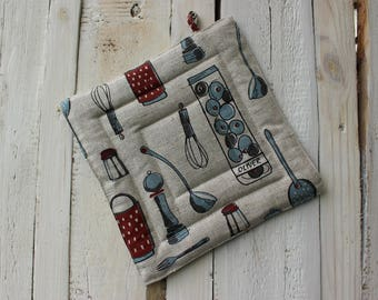 Pot Holder With Kitchen Tools - Pot Holder - Kitchen Pot Holder - Christmas gift for the cook