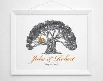 Custom tree anniversary print - wall decor art - wedding keepsake gift shower couple bride groom personalized name names date birds vintage