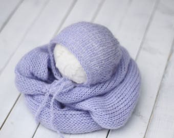lavender purple knitted wrap and bonnet set, new born wrap and matching bonnet