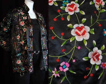 Vintage hand embroidered Chinese silk jacket plum blossom 40s 50s