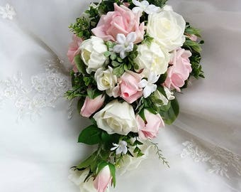 Wedding Natural Touch Light Pink Blush Ivory Peonies and Roses Cascade Wedding Bouquet